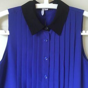 BCBC blue and black sleeveless dress.